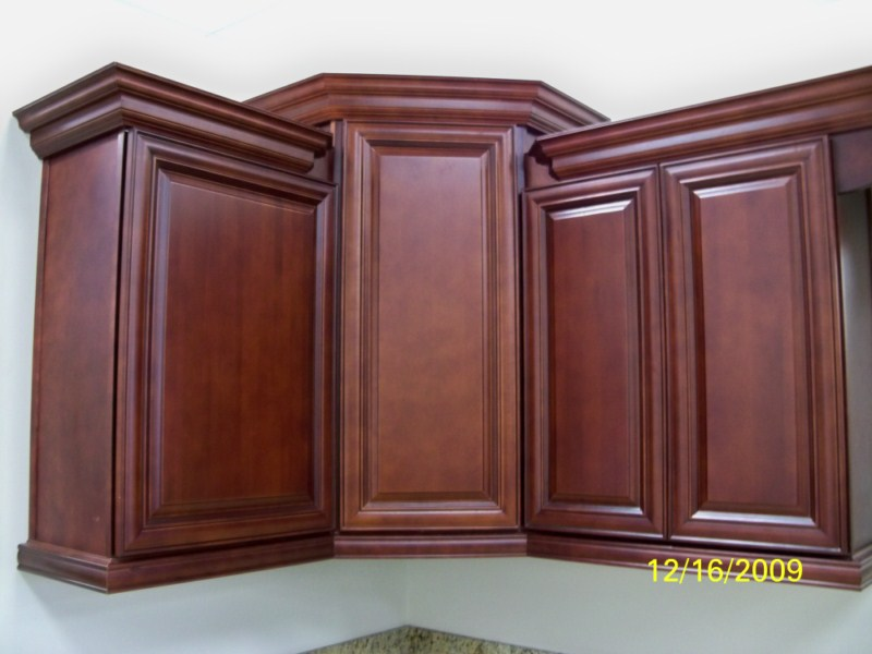 New burgundy wood cherry custom kitchen bathroom cabinets for Burgundy kitchen cabinets pictures